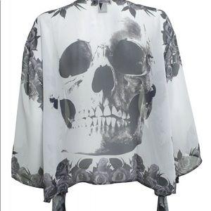 Grey soft sheer tunic kimono skull roses boho
